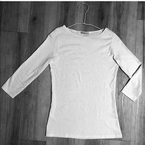 Zara Women/Basic Collection Boat Neck White Shirt